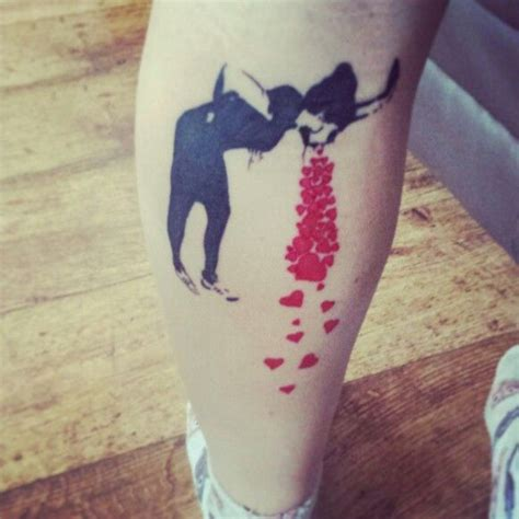 banksy tattoo banksy in2u calf sick of tattoos