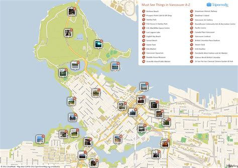 map of attractions free printable map of vancouver attractions free