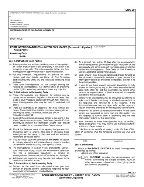 code of civil procedure section 2030 disc 004 form interrogatories limited civil cases free
