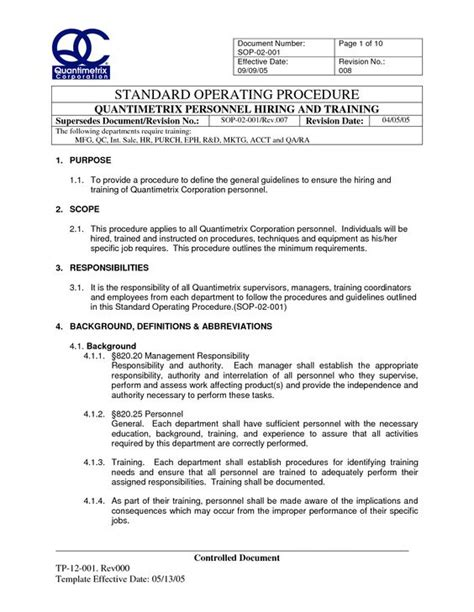 Sop Report Template Iso Standard Operating Procedures Template Sop 02 001