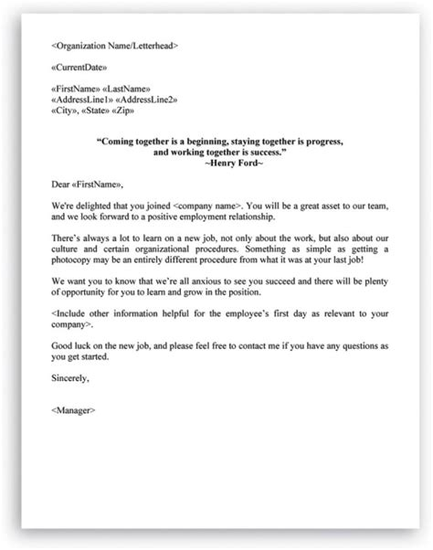 welcome letter format for new employee letter exle