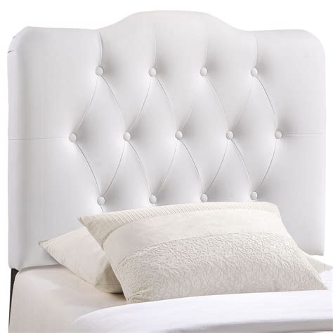 White Arched Headboard by Annabel Faux Leather Button Tufted Arched Headboard White