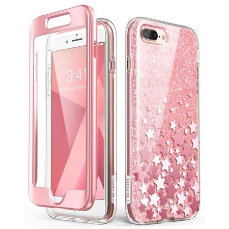 iphone 7 plus screen replacement pink iphone 8 plus iphone 7 plus built in screen protector i blason cosmo glitter