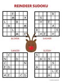 Printable Easy Crossword Puzzles Christmas Sudoku Reindeer
