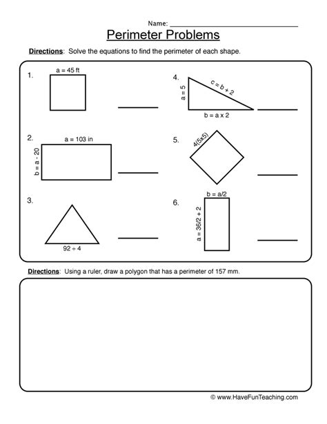 3rd Grade Perimeter Worksheets by Perimeter Problems Worksheet 2