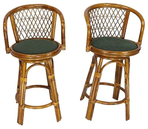 Rattan Swivel Counter Stools by Mid Century Vintage Tiki Pair Rattan Bamboo Swivel Bar