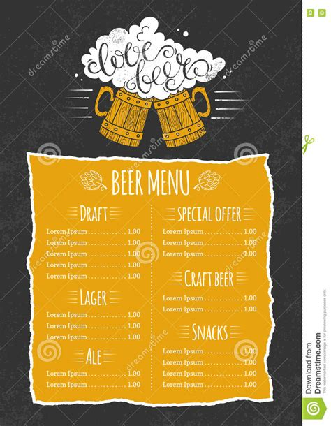 beer menu template stock vector image of beer created