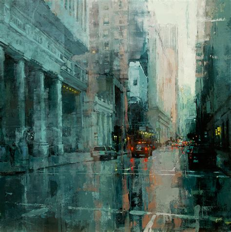 brooding cityscapes painted with oils by mann