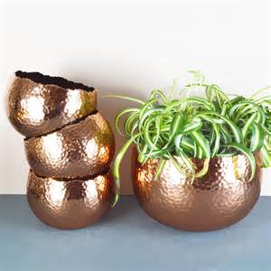 Tall Planter Pots by Hammered Copper Plant Pots By Miafleur