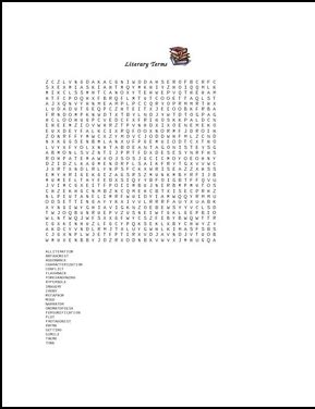 printable word search literary terms the best of teacher entrepreneurs ii free language arts