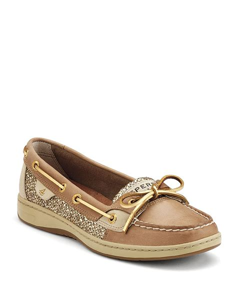 glitter sperry boat shoes sperry top sider boat shoes angelfish in brown linen gold