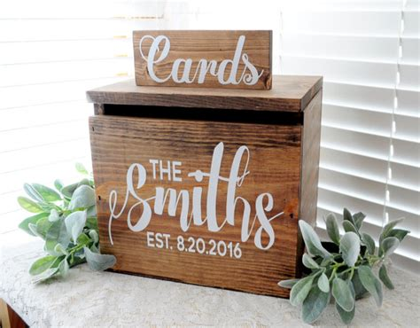 Wooden Gift Card Box - wedding card box large rustic personalized painted wooden