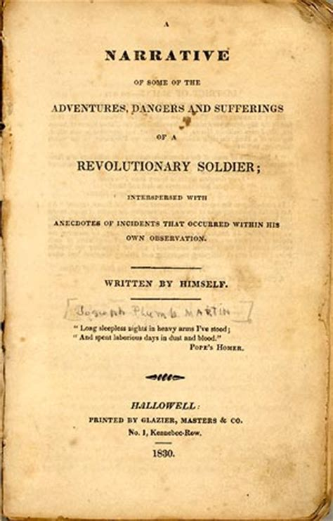 Joseph Plumb Martin Narrative Of A Revolutionary Soldier by Starving Memory