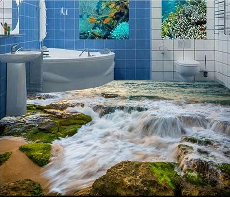Wall Shower Wasser benutzerdefinierte 3d boden stein k 252 ste wellen pvc vinyl b 246 den wandbilder f 252 r wohnzimmer 3d