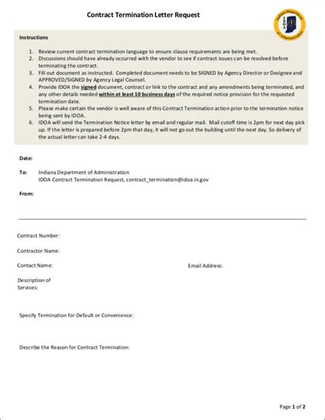 letter requesting contract cancellation 37 free termination letter sles templates free