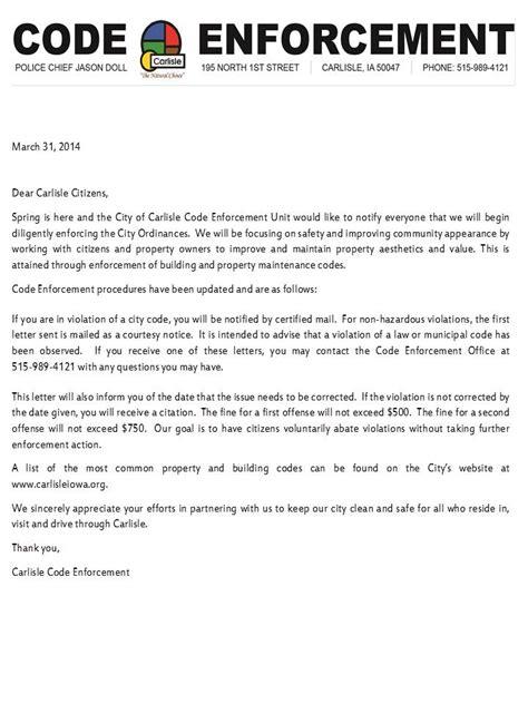 Enforcement Letter Codes Ordinances Carlisle Iowa