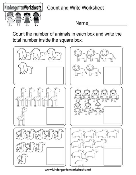 count and write worksheet free kindergarten math