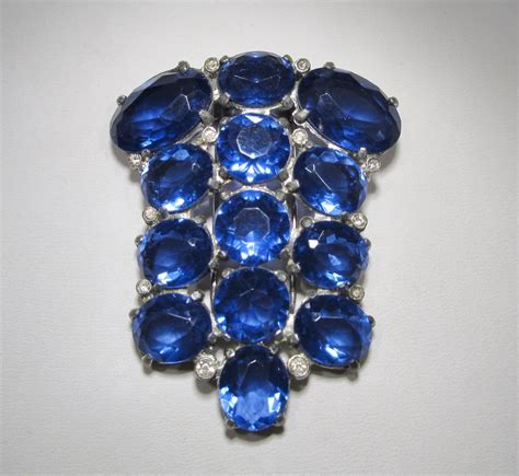 glass stones for jewelry antique vintage blue glass fur clip dressy wc 274