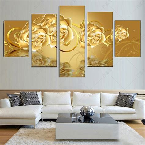 aliexpress home decor 5 pieces canvas art golden flower canvas print oil