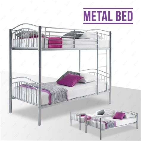 One Person Bunk Bed Silver Metal Bunk Bed Frame 2 Person 3ft Single For Children Ebay