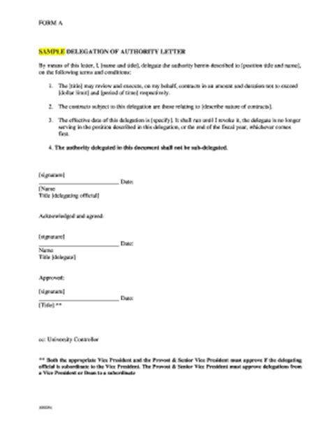 power of authority template delegation authority form fill printable