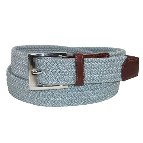 mens fabric braided stretch belt with leather end tabs by