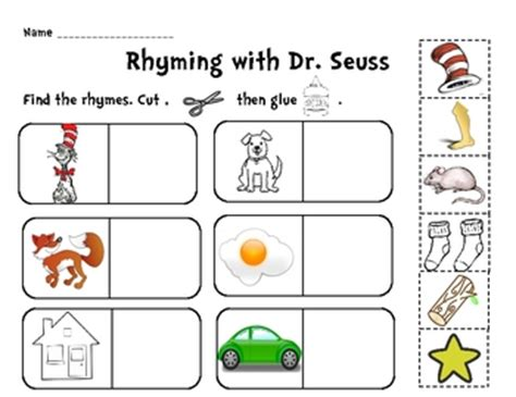 dr seuss printable preschool activities rhyming with the cat cut and paste activity cut and