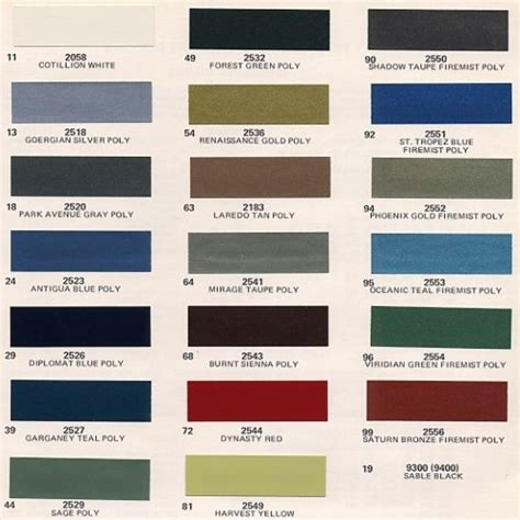 1973 cadillac paint codes