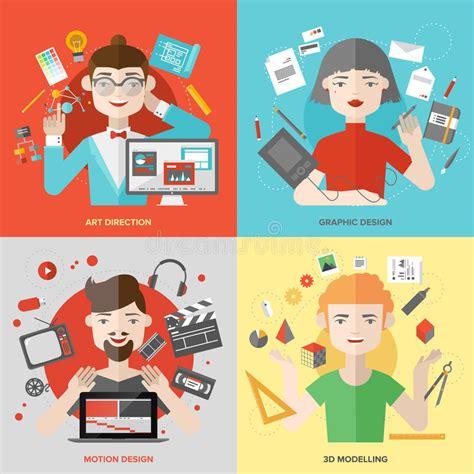 design art jobs arts and design occupations flat illustrations stock
