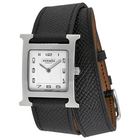 hermes h hour white black leather 037011ww00