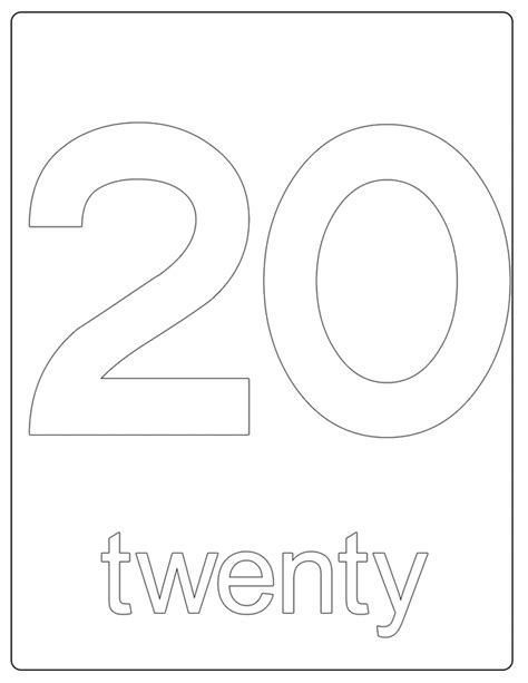 printable coloring pages numbers 1 20 number 20 free printable coloring pages