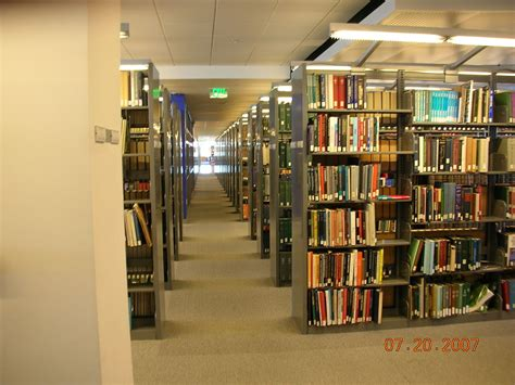 different sections of the library wikipedia file bookshelves on the eighth floor of the martin luther