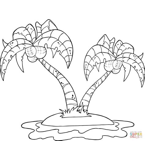 coloring page of a coconut tree coconut palm trees on island coloring page free