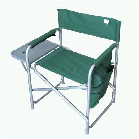 Folding Chair With Table Folding Portable Fishing Chair Cing Outdoor Garden Seat Green With Side Table Ebay