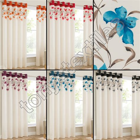 cream curtains with black flowers grommet eyelet top lined pair window curtain panels lily