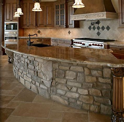 stone island kitchen stone kitchen island brick back splash ideas pinterest