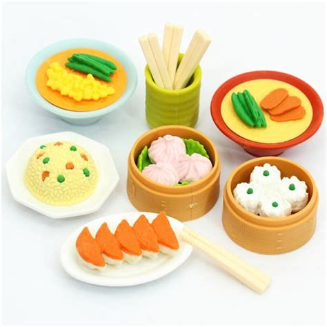 imagenes de gomas kawaii iwako erasers chinese dim sum 7 pieces set food eraser