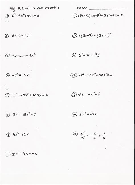 Quadratic Equations Worksheet by Factoring Trinomials Worksheet Answers Kuta Factoring 1