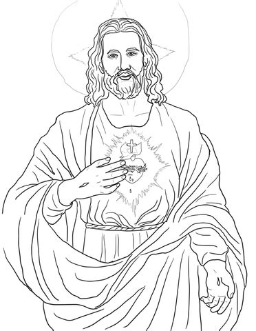 sacred heart coloring page sacred heart of jesus coloring coloring pages
