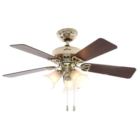 Brass Ceiling Fan With Light Beacon 42 In Indoor Hill Bright Brass Ceiling Fan With Light 53080 The Home Depot