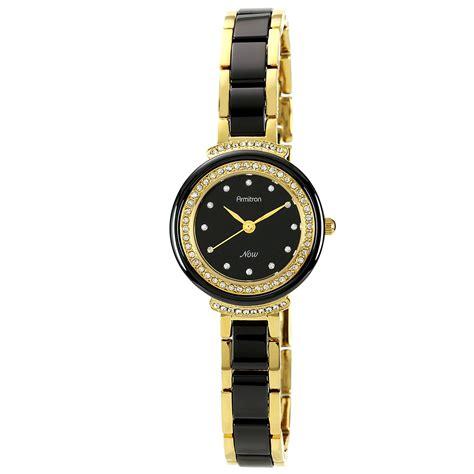armitron black and gold tone bracelet