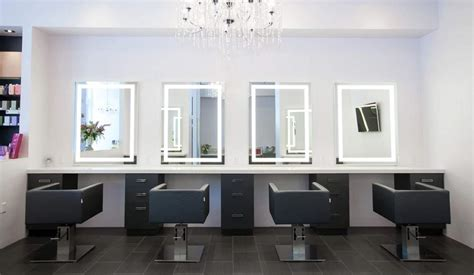 salon mirrors with lights custom lighted led and backlit mirrors seura