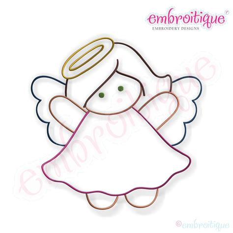 Embroitique Simple Christmas Angel Embroidery Design   Large