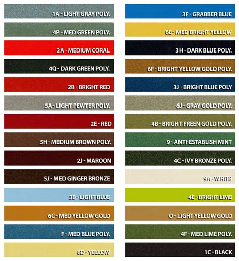 1966 mustang color chart 1972 mustang exterior factory color options mustang info