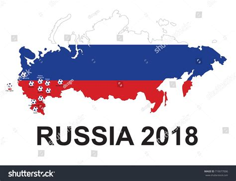 world cup 2018 host cities map russia soccer 2018 host cities map stock vector 719077006