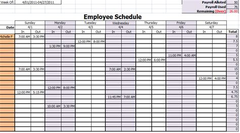 9 Best Images Of Printable Employee Monthly Work Schedule Printable Weekly Work Schedule Free Staff Schedule Template