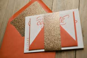 gets the glitter treatment coral and gold glitter wedding invitations