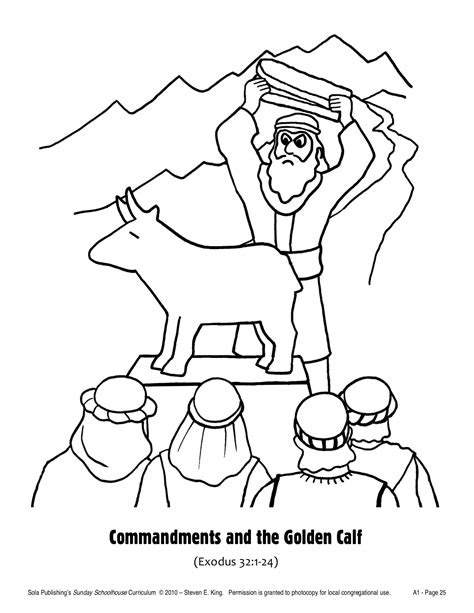 free coloring pages of the golden calf