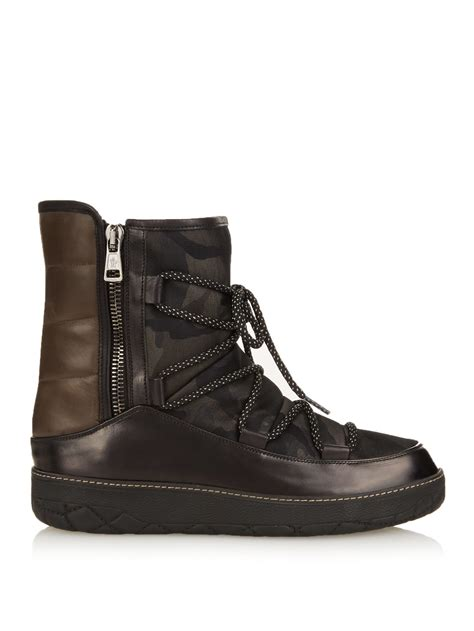 moncler feldberg camo print leather boots in for