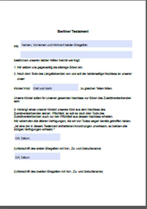 Kostenlose Vorlage Für Berliner Testament Vorlage Berliner Testament Holidays Oo